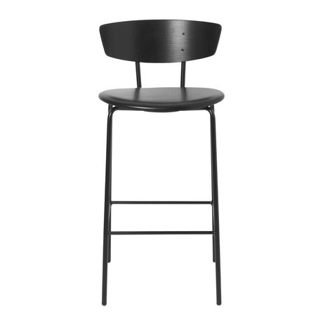 Ferm Living Bar stool Herman Low black leather wood metal 39,5x39,5x83,5cm