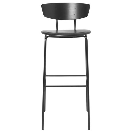 Ferm Living Barhocker Herman High schwarz Leder Holz Metall 40,5x43x96cm