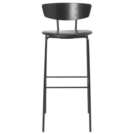 Ferm Living Tabouret de bar Herman High cuir noir bois bois 40,5x43x96cm