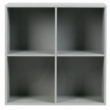 vtwonen Bac de rangement 4 compartiments ouverts en béton gris bois 81x35x81cm