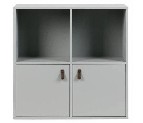 vtwonen Empilable 4 compartiments 2 drs béton gris bois 81x35x81cm
