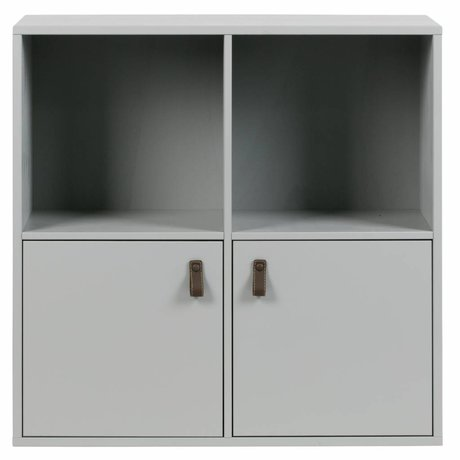 vtwonen Stapelkast 2 open vakken 2 drs beton grijs hout 81x35x81cm