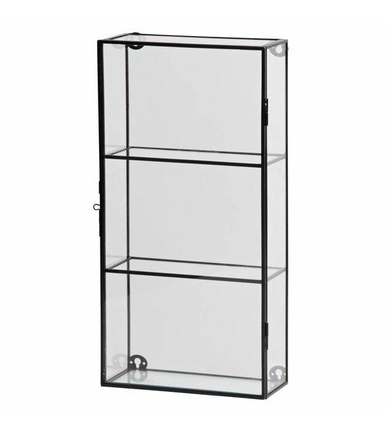 Glazen Wand Vitrinekast.Vitrinekastje Charlie Zwart Metaal Glas 20x8x40cm Wonenmetlef Nl