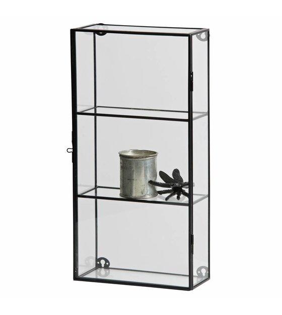 Kleine Glazen Vitrinekastjes.Vitrinekastje Charlie Zwart Metaal Glas 20x8x40cm