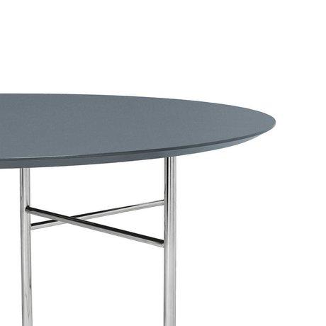 Ferm Living Tischplatte Mingle Round staubig blau Holz Linoleum Ø130x2,5cm