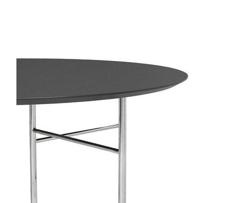 Ferm Living Tafelblad Mingle Round donker grijs hout linoleum Ø130x2,5cm