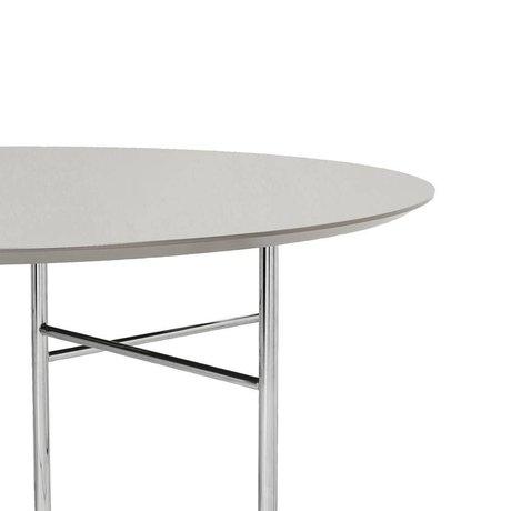 Ferm Living Tafelblad Mingle Round licht grijs hout linoleum Ø130x2,5cm