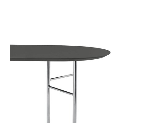 Ferm Living Tischplatte Mingle Oval 150cm dunkelgraues Holz Linoleum 150x75x2,5cm