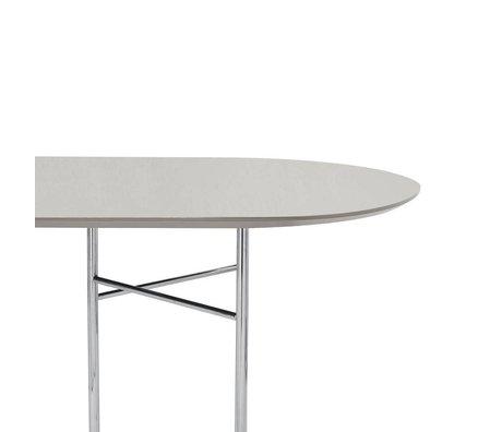 Ferm Living Tafelblad Mingle Oval 150cm licht grijs hout linoleum 150x75x2,5cm