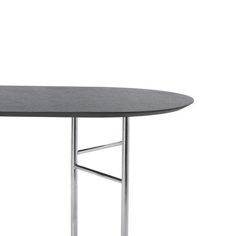 Ferm Living Tischplatte Mingle Oval 220cm aus schwarzem Holz Linoleum 220x90x2.5cm
