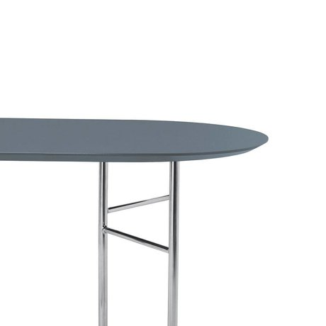 Ferm Living Tabletop Mingle Oval 220cm dusty blue wood linoleum 220x90x2.5cm