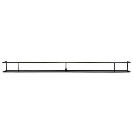 LEF collections Wandplank Myrthe XXL zwart metaal 160x15x13cm