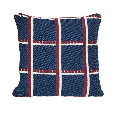 Ferm Living Dekokissen Kariertes blau-rotes Textil 40x40cm