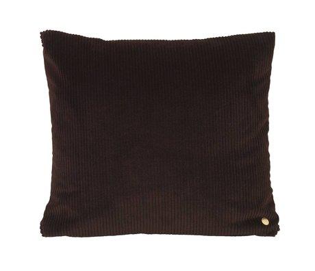 Ferm Living Coussin en velours côtelé chocolat brun textile 45x45cm