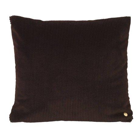 Ferm Living Throw pillow Corduroy chocolate brown textile 45x45cm
