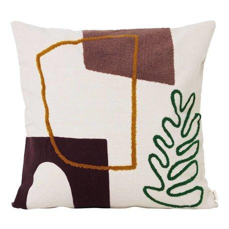 Ferm Living Coussin Mirage Leaf en textile multicolore 50x50cm