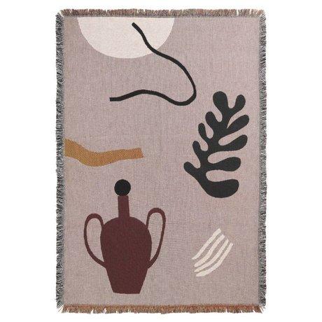 Ferm Living Plaid Mirage gris coton multicolore 120x170cm
