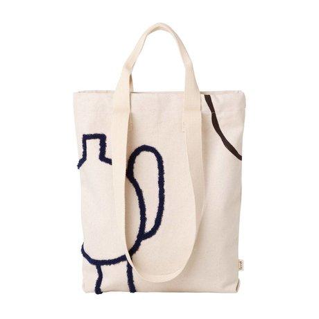Ferm Living Tote bag Mirage donkerblauw katoen 36x43cm