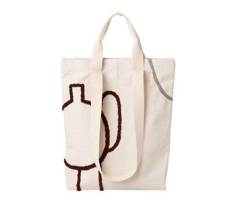 Ferm Living Sac fourre-tout Mirage en coton gris marron 36x43cm