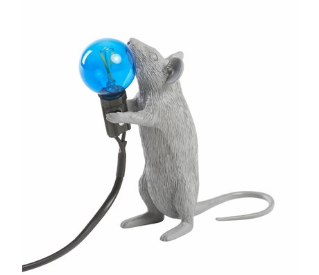 Seletti lampe de table souris gris en plastique 6x13,3x14,5cm