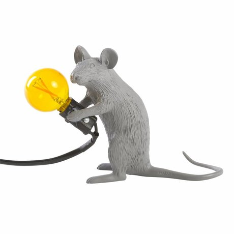 Seletti tafellamp mouse grijs kunststof 5x15x12,5cm