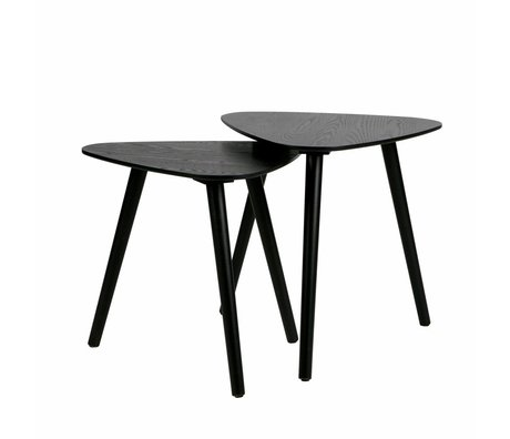 LEF collections Side table Nilia black wood set of 2