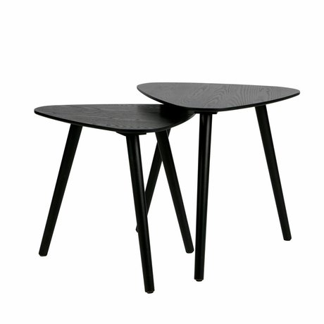 LEF collections Table d'appoint Nilia en bois noir, ensemble de 2