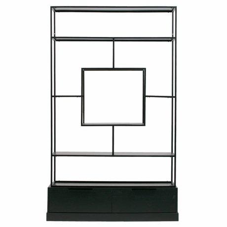 WOOOD Compartment box Fons matt black metal wood 126x38x204cm