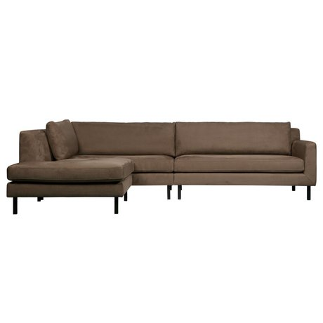 WOOOD Corner sofa Nate left taupe suede look 282x99 / 198x81cm