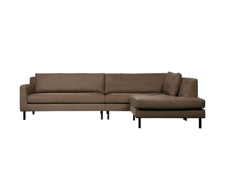 WOOOD Corner sofa Nate right taupe suede look 282x99 / 198x81cm