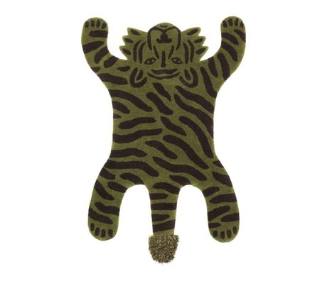 Ferm Living Rug Safari TIGER green cotton wool 160x118x2cm