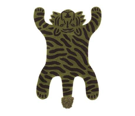 Ferm Living Vloerkleed Safari TIGER groen katoen wol 160x118x2cm
