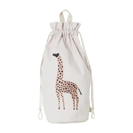 Ferm Living Sac de rangement Safari Giraffe en toile de coton 24x50cm