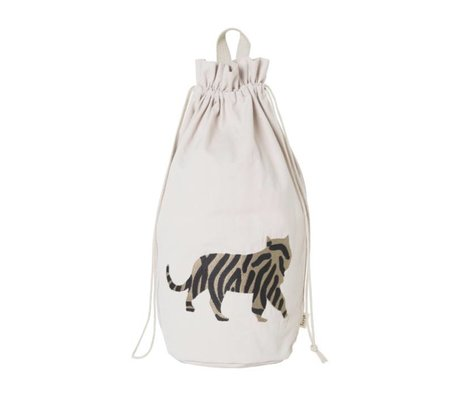 Ferm Living Storage bag Safari Tiger cotton canvas 24x50cm