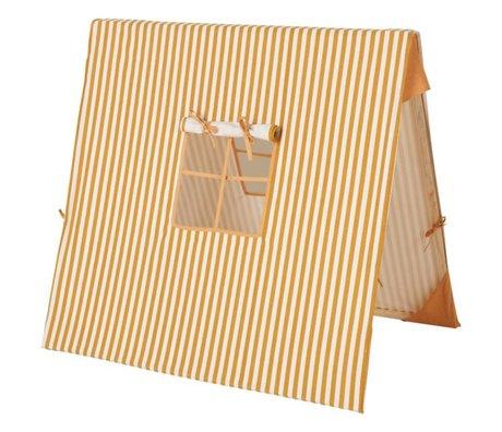 Ferm Living Tente Moutarde Fine Bois de Coton Rayé 100x100cm