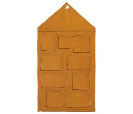 Ferm Living Opbergzak House mustard katoen 50x98cm