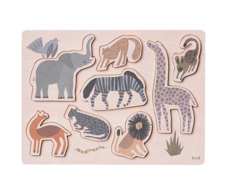 Ferm Living Puzzle Safari contreplaqué 22x30x1,6cm