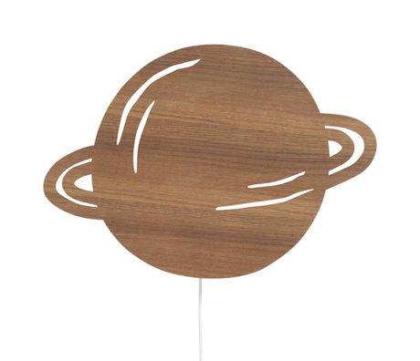 Ferm Living Wandlamp Planet bruin eikenhout 39x28cm