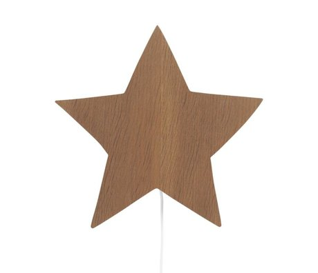 Ferm Living Wall lamp Star brown oak 33x29,8x6,5cm