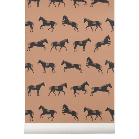 Ferm Living Children wallpaper Horse brown / beige
