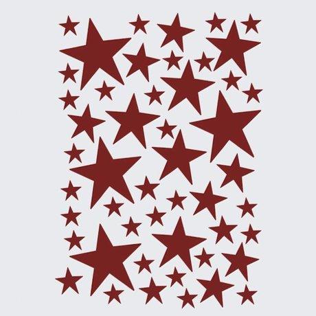 Ferm Living Wall sticker Mini Stars red 49 pieces