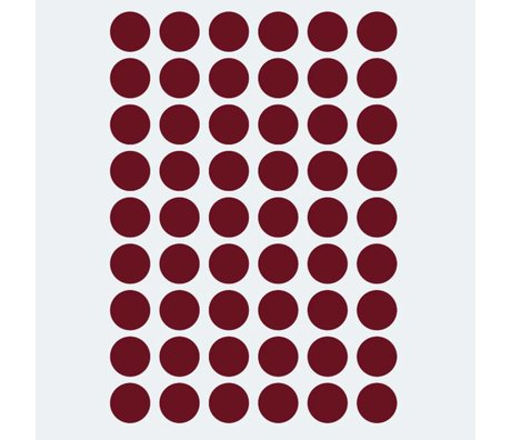 Ferm Living Muursticker Mini Dots rood 54 stuks
