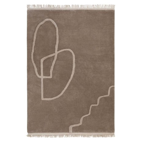 Ferm Living Vloerkleed Desert Tufted zand bruin textiel 200x300cm