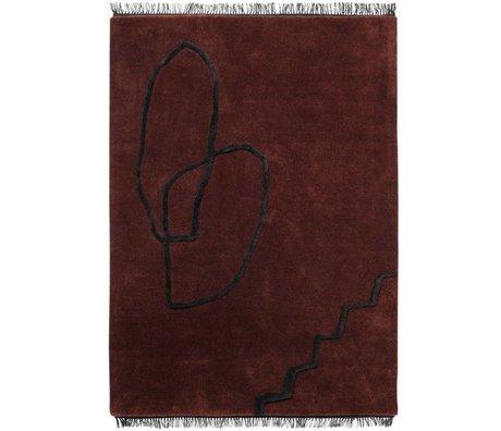 Ferm Living Vloerkleed Desert Tufted rood zwart textiel 200x300cm