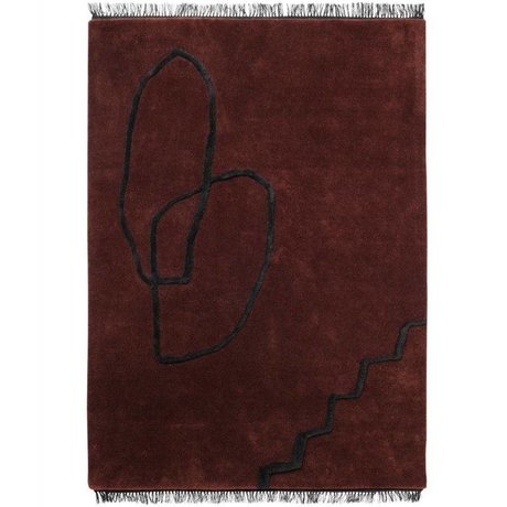 Ferm Living Tapis Desert Tufté rouge textile noir 200x300cm