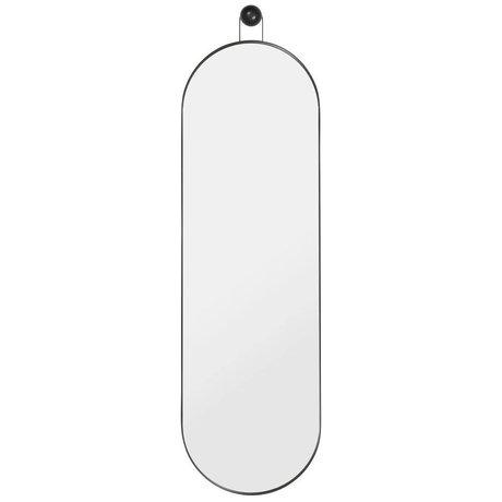 Ferm Living Spiegel Poise oval zwart metaal hout 28,3x2,6x98,9cm