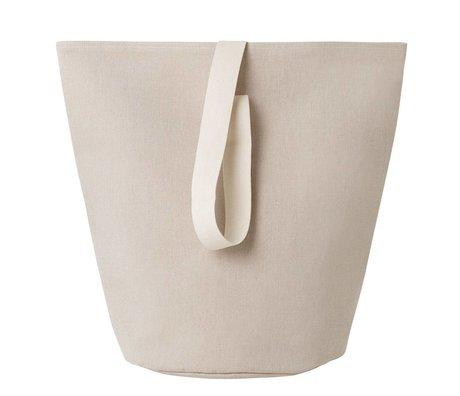 Ferm Living Panier à linge Chambray grand coton beige Ø40x62cm