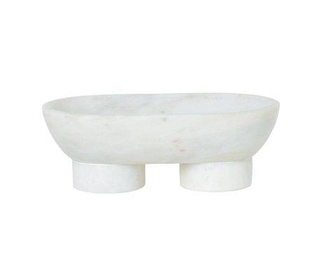 Ferm Living Dish Alza white marble 25x14x9cm