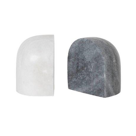 Ferm Living Buchstütze Luru schwarzer weißer Marmorsatz von 11x8x12cm