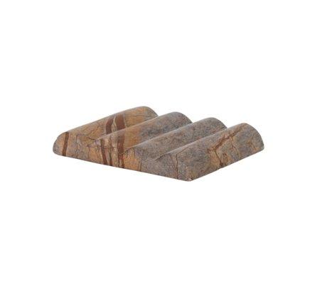 Ferm Living Seifenschale Bendum brauner Marmor 10,8x8,3x1,5cm